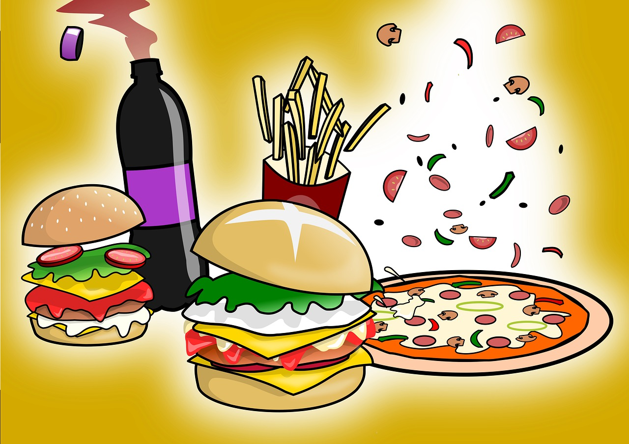 fast food, party, soft drink